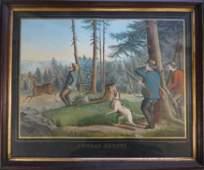 """203: Large folio hunting scene """"Sunday Sports""""- 19thc."""