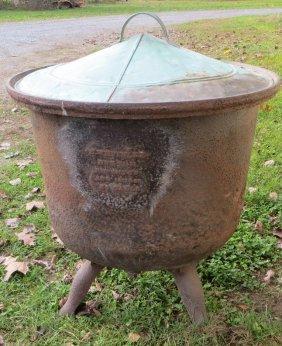 Large 1863 Signed Edward Whiteley Cast Iron Kettle.