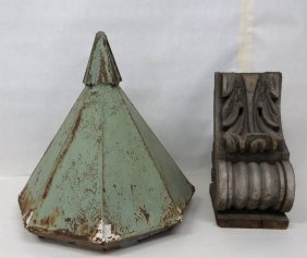 Two Architectural Building Ornaments Including A Tin