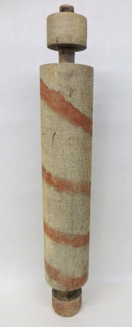 3: Turned wooden barber pole in old white and red paint
