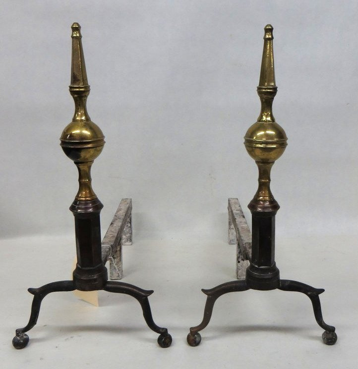 5: Fine pair of brass andirons with steeple finials, ar