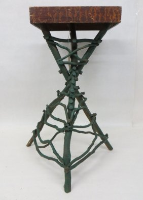 6: Adirondack painted twig plant stand with original sp
