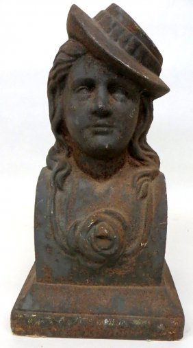 Cast Iron Bust Of Lady With Bonnet - 19th Century -