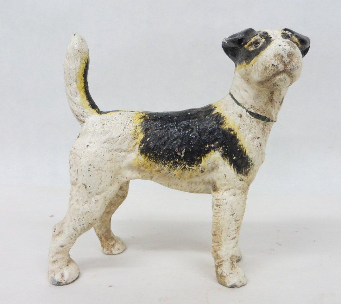 13: Cast iron fox terrier door stop attributed to Huble