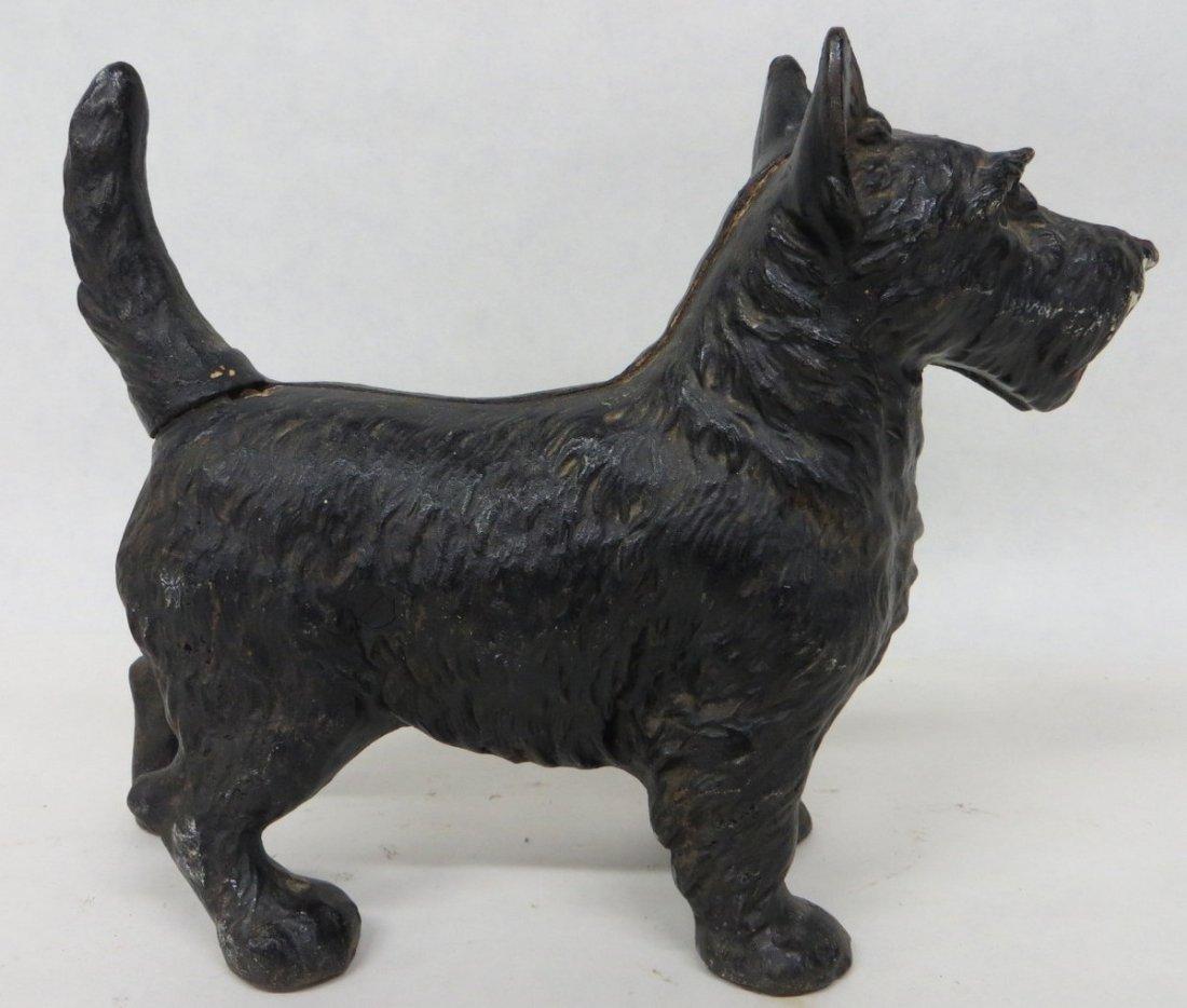 15: Cast iron Scottie dog door stop in old black paint