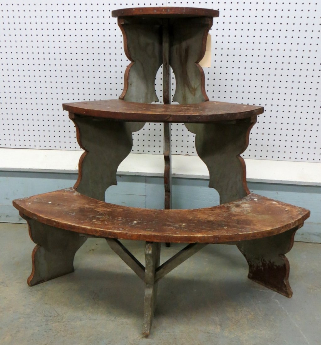 16: Three tier 1/2 round plant stand in original red an