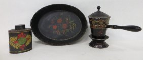 17: Three pieces of painted toleware including double h