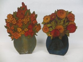 18: Two Flemish Art floral displays hand decorated with