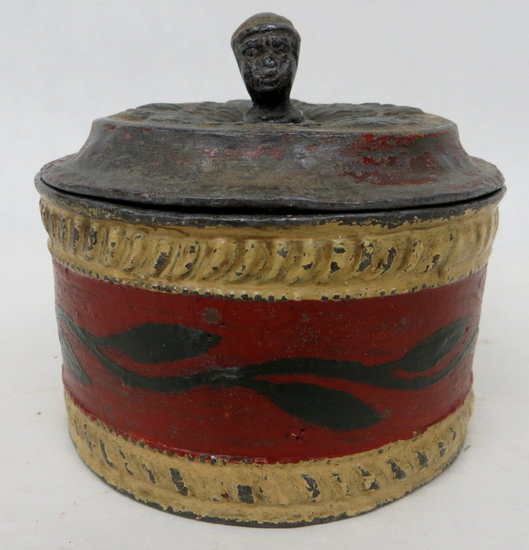 20: Early pewter tobacco jar - finial on lid in the for