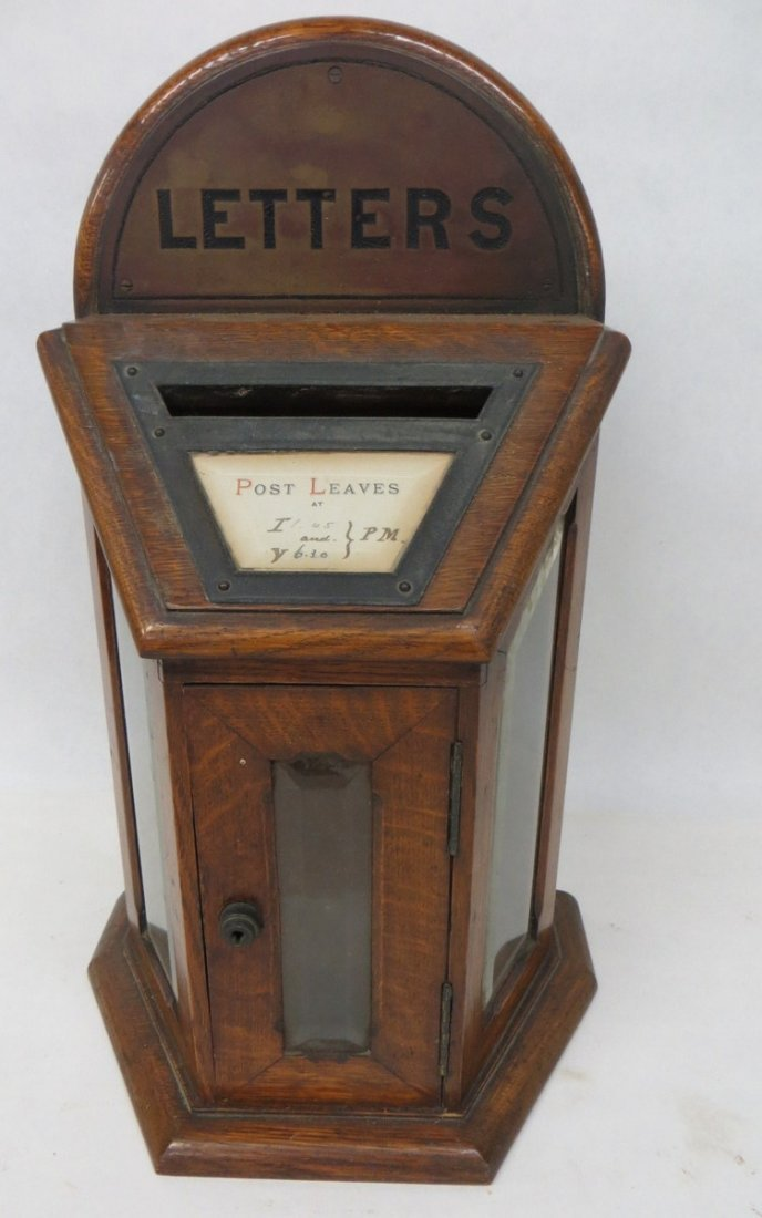21: Oak letter box with beveled glass door and side pan