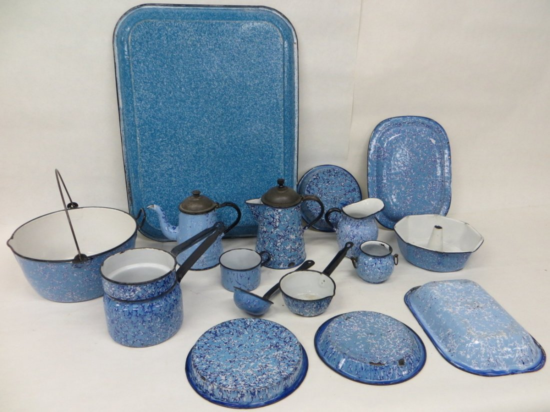 82: Large lot of marbleized blue and white graniteware