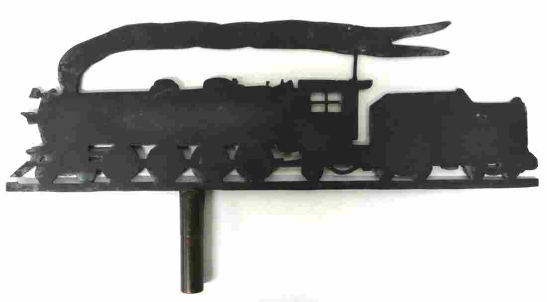 175: Silhouette steam locomotive weathervane in bronze