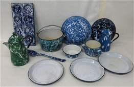 432: Lot of 12 pieces of blue & white swirl and green &
