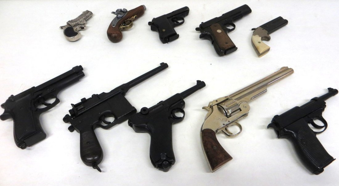 Collection of 9 replica pistols - not fireable. Includi