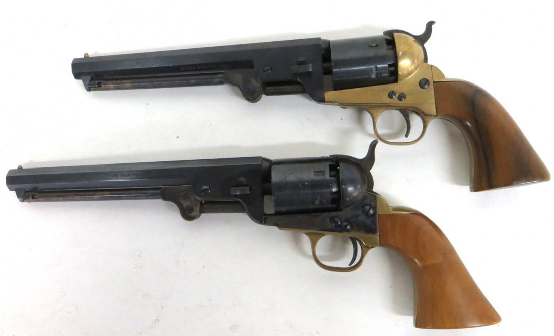 Two modern 36 cal. black powder pistols signed Made in
