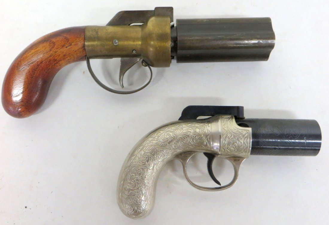 Two modern black powder pepper box pistols, one marked