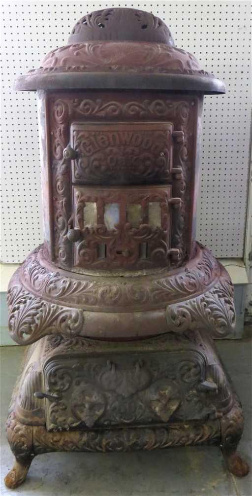 Large Cast Iron Pot Belly Stove Signed Glenwood Oak No