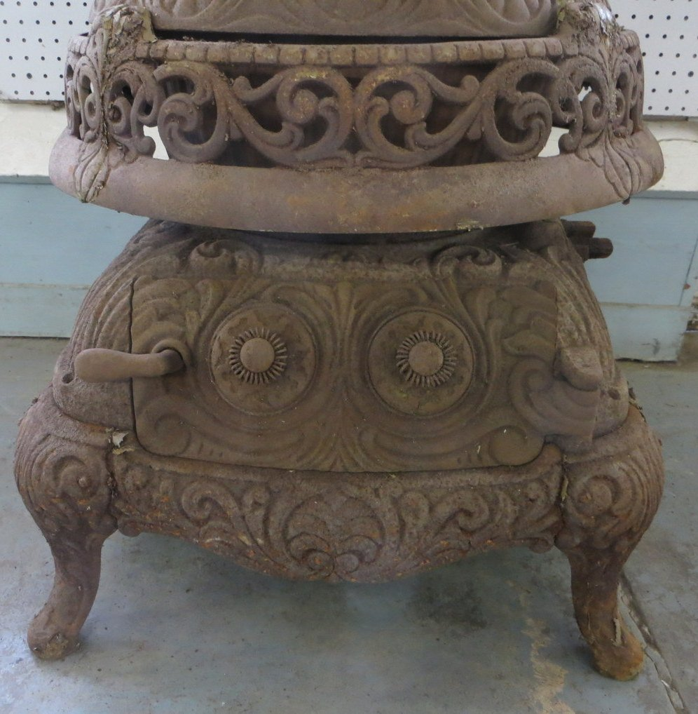 Cast iron pot belly stove signed Splendid Oak No. 25 -  - 4