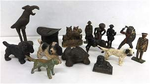Collection of 15 metal figures including 8 animals (iro