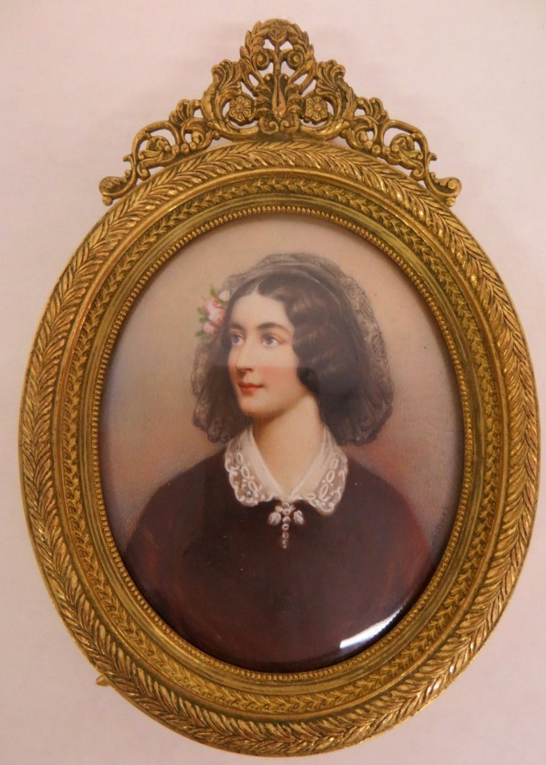 Miniature portrait on porcelain or ivory of young woman