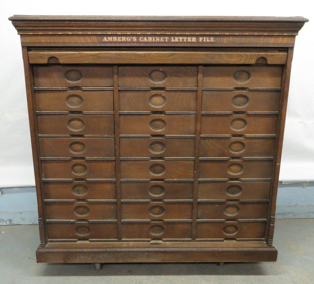 Amberg's Cabinet Letter File in oak having 24 interior  - 2