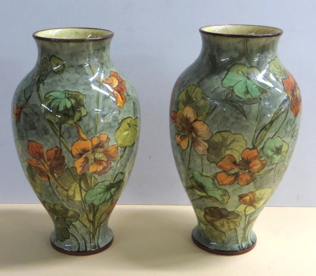 Pair of matching arts & crafts pottery vases hand paint