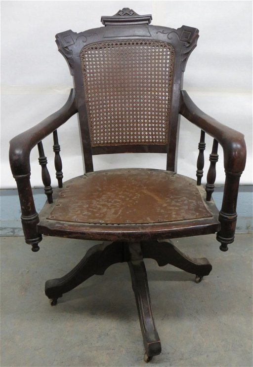 Fabulous Eastlake Black Walnut Swivel Office Chair With Cane Sea Short Links Chair Design For Home Short Linksinfo