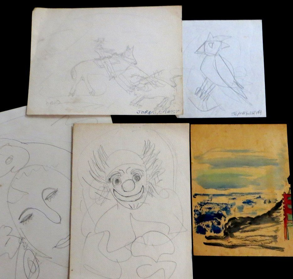 Lot of 5 pencil sketches by John G. Ernst (only 2 signe