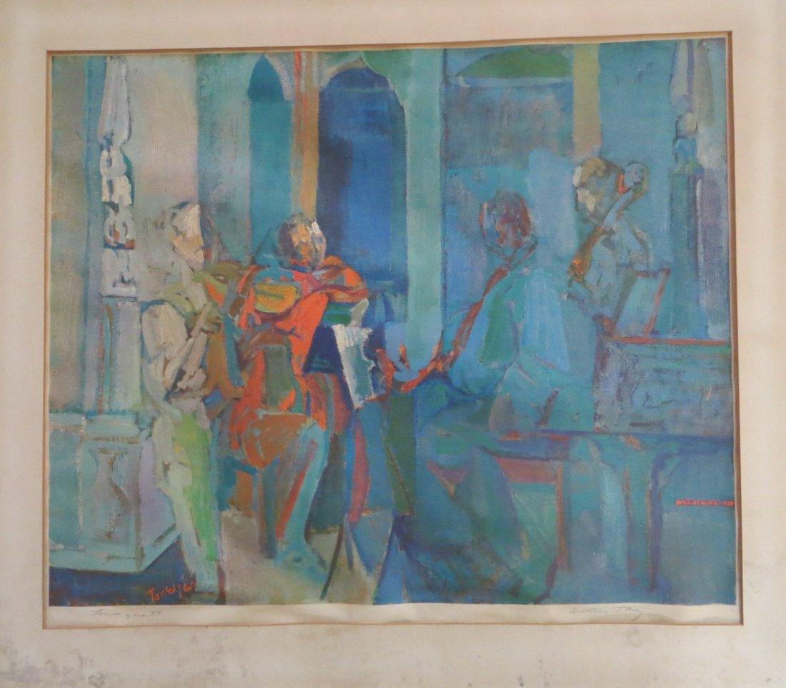 """Colored lithograph of musicians entitled """"Lenox Quartet"""