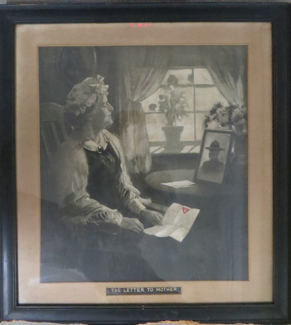 Large folio lithograph of lady holding YMCA letter enti