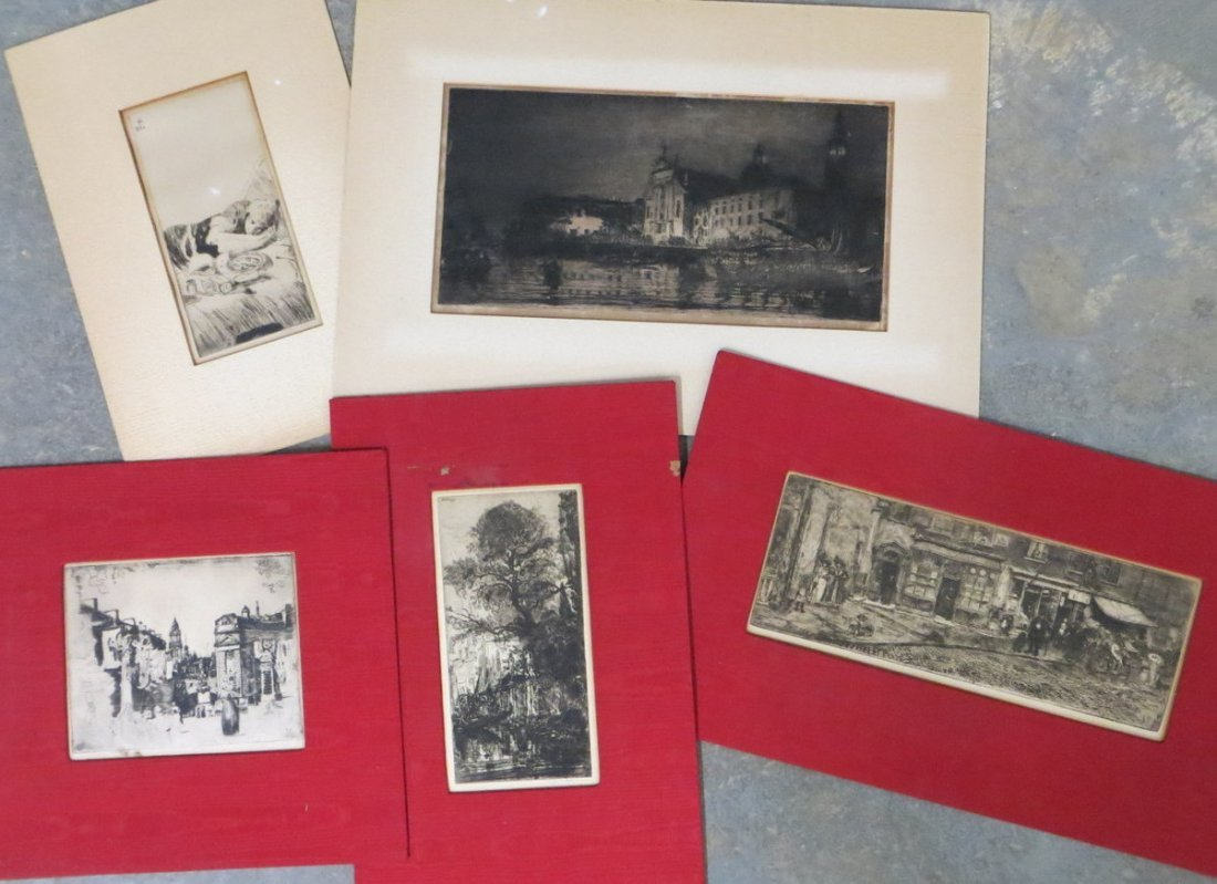 Lot of 5 etchings - 4 of architectural city scenes and