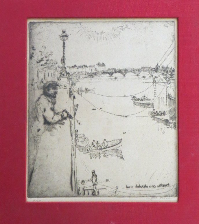 Etching of man overlooking harbor signed Clifford Addam