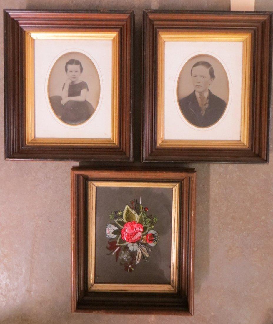 Three Victorian black walnut frames currently holding a