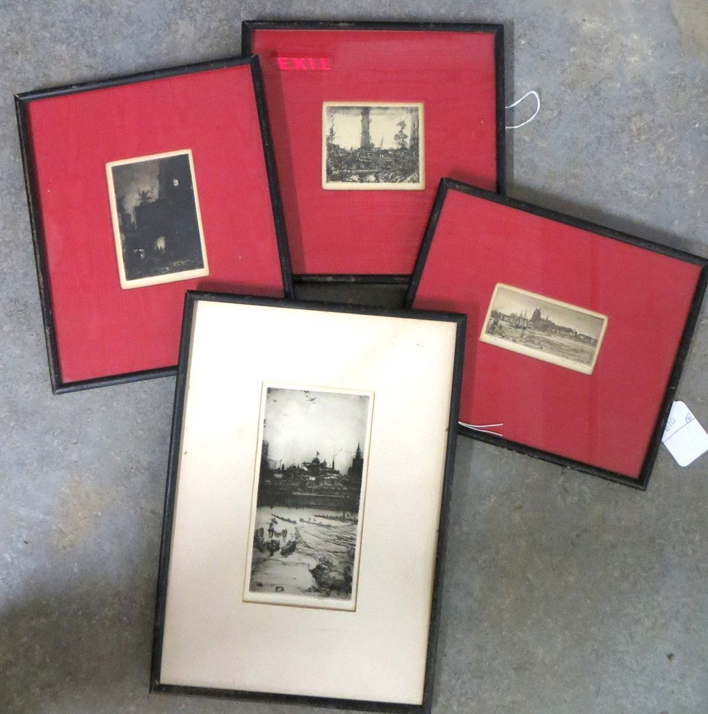 Lot of 4 small etchings - 4 of architectural building c