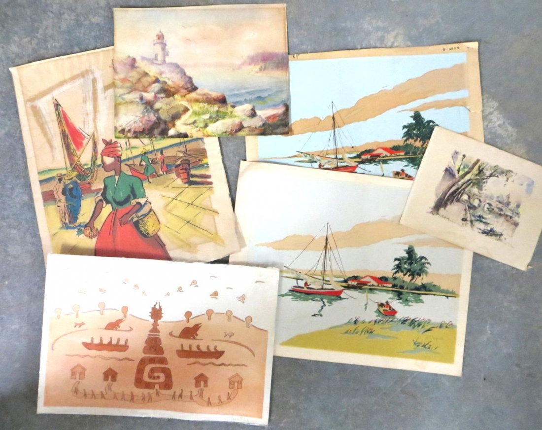 Lot of 6 pieces of artwork including a W/C with lightho