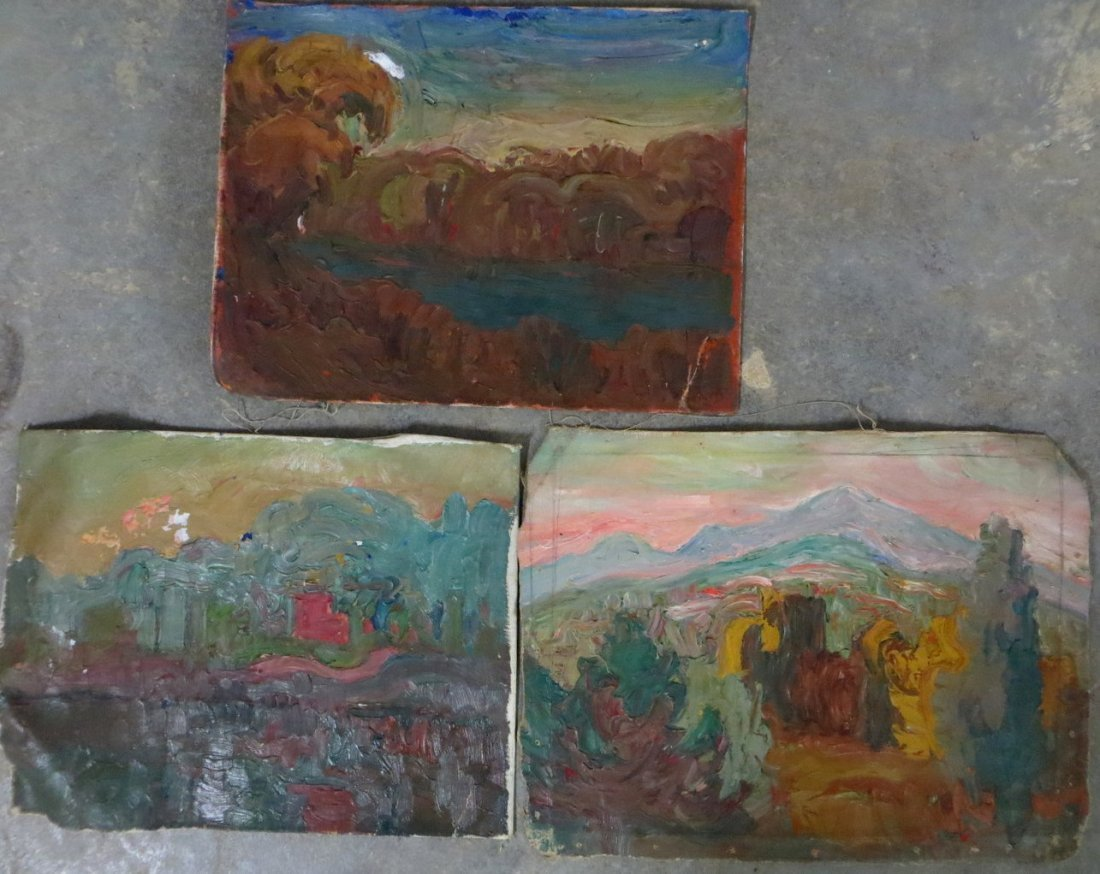 Lot of 3 modernistic impressionist paintings - all off