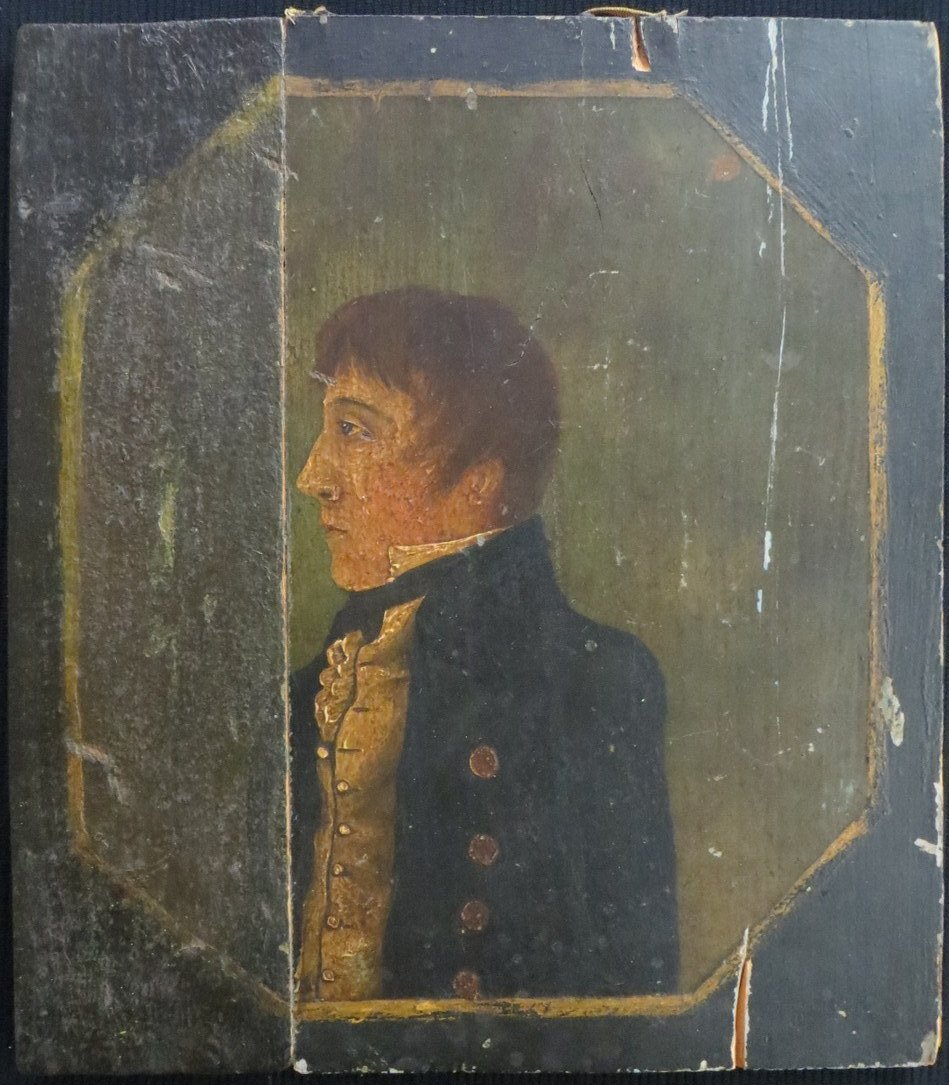 18th century portrait of man on wooden panel. Note - pa