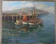 "O/B Fishing boats at port - signed illegibly - 16"" x 20"