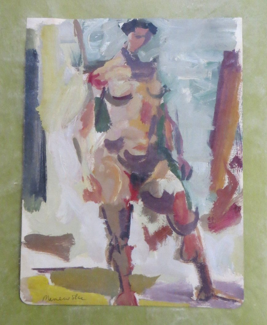 Alexander Minewski - Gouache of modernistic woman signe