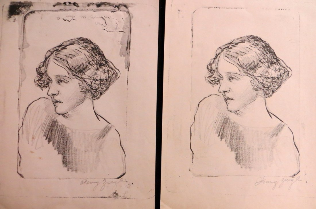 Two prints of young lady signed Henry Ziegler (NY 1889-