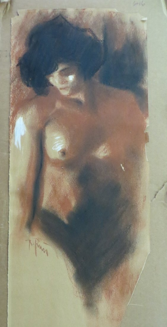 Pastel portrait of  nude lady signed illegibly (note mi