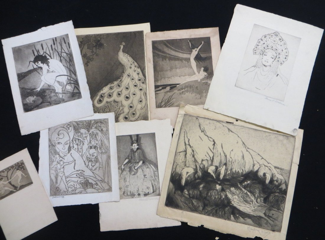 Group of 8 Art Deco style etchings - most unsigned smal