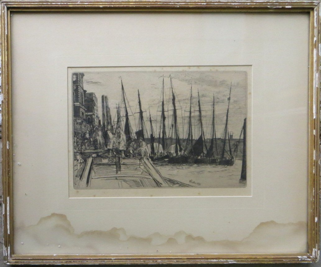 Etching of sailing vessels at port signed Whistler 1859