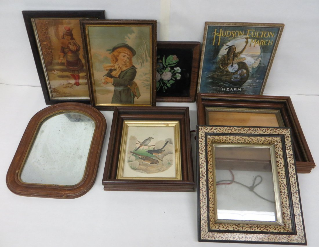 Seven various frames and prints including 4 Victorian b