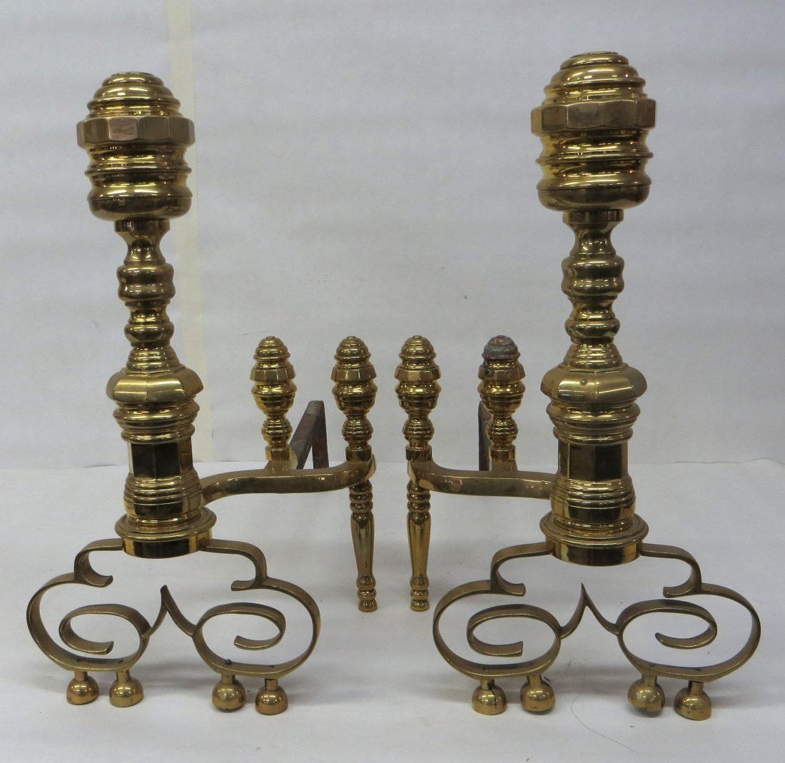 Pair of brass Chippendale style andirons with double br