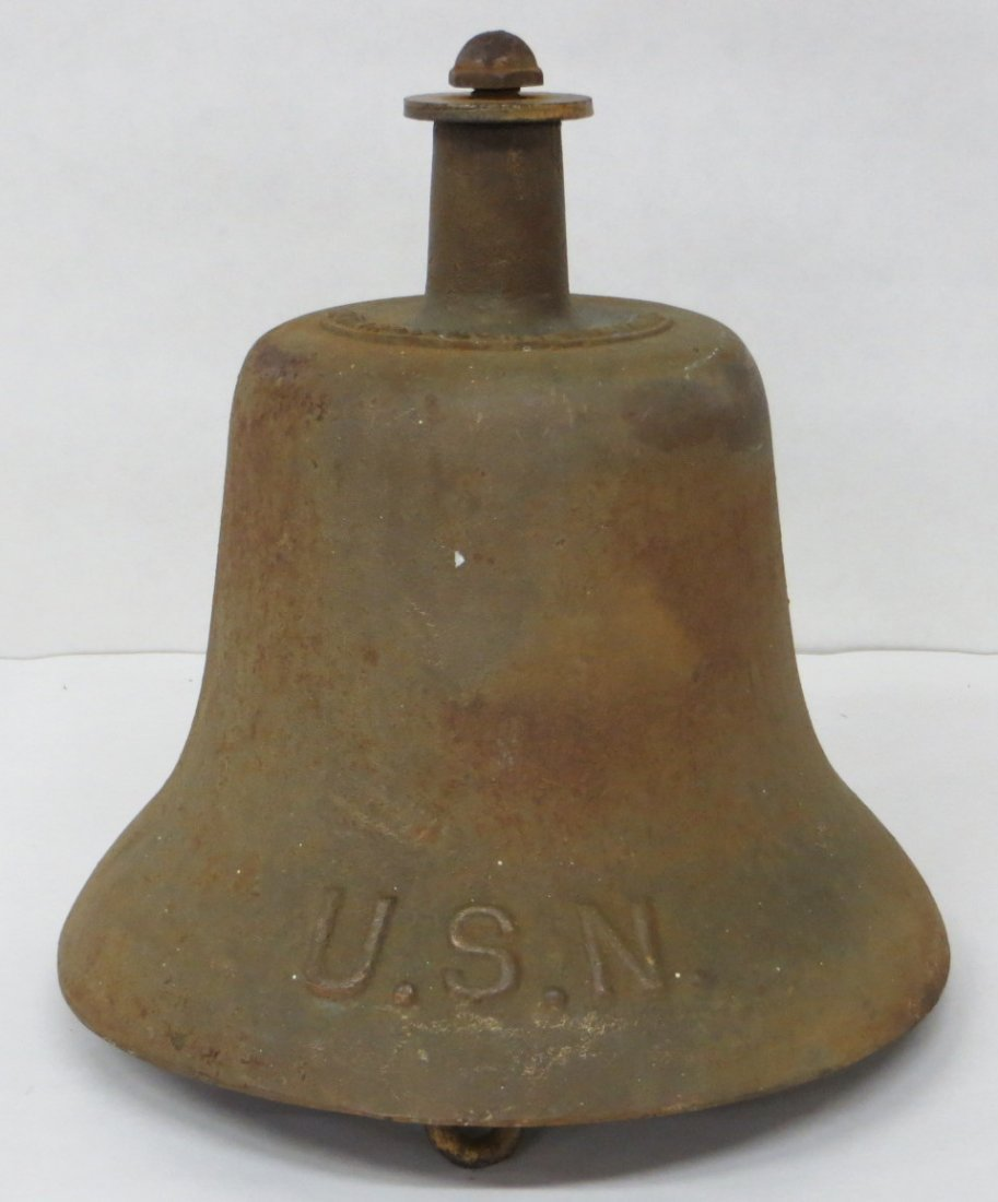 US Navy cast iron ship's bell signed Harvard Lock Compa