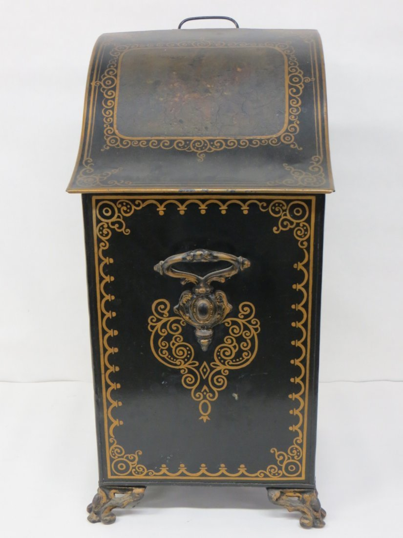 Paint decorated coal bin with insert, probably late 19t