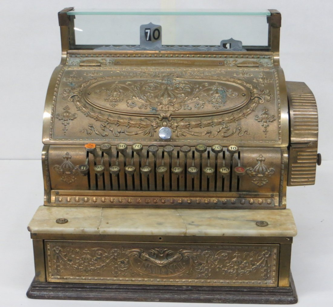 Embossed brass National Cash Register - working conditi