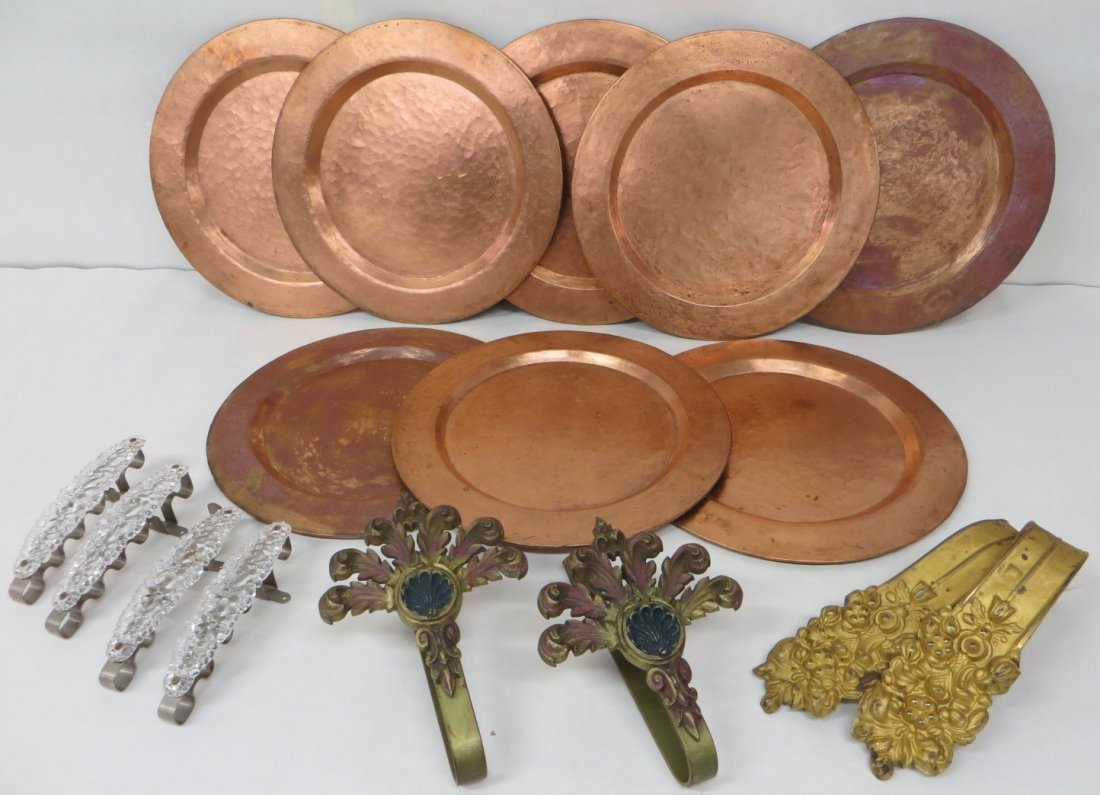 Collection of 8 hand hammered copper plates, mid-20th c