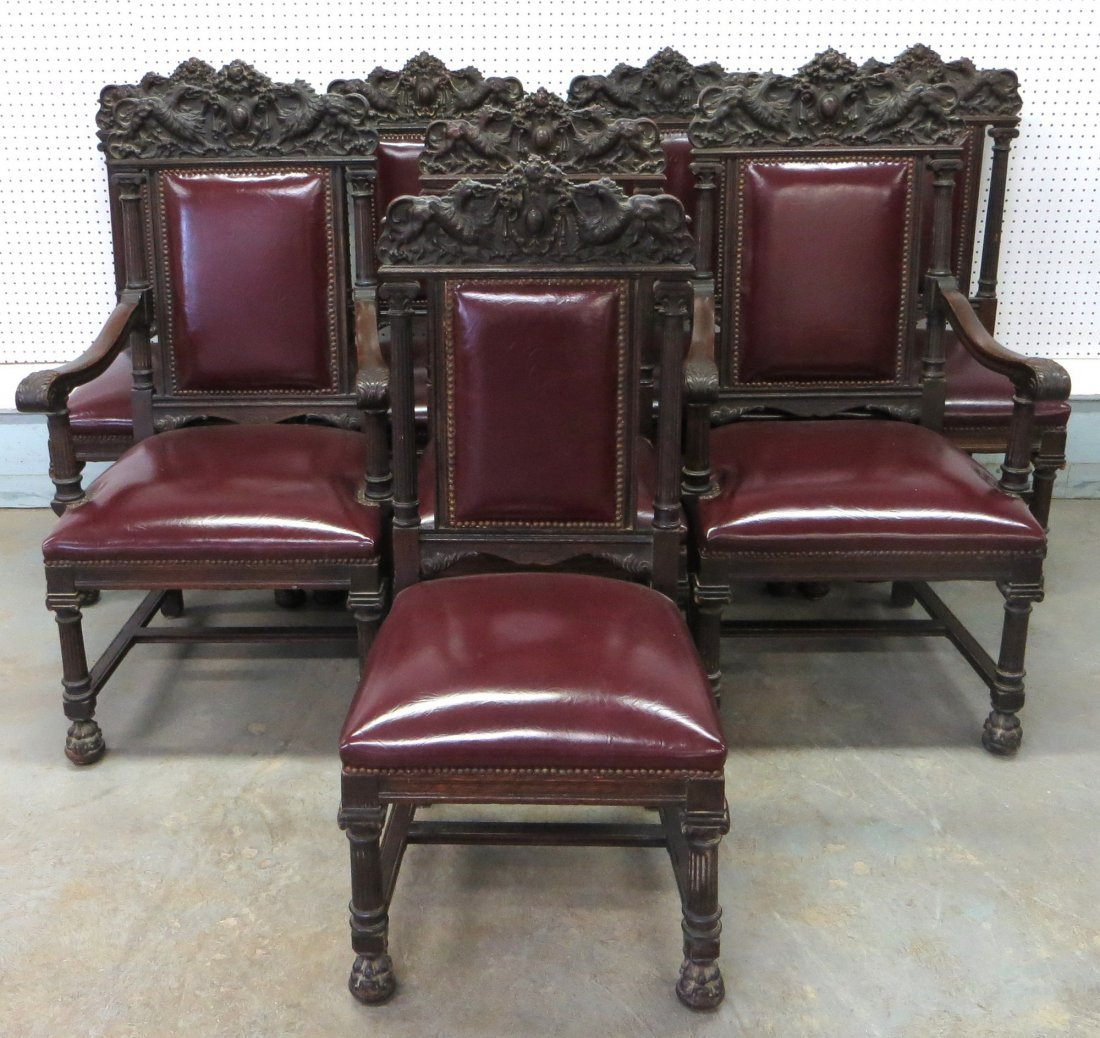 Outstanding matched set of 8 ornate oak dining room cha